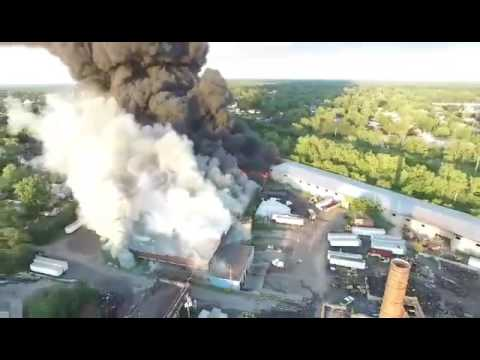 Massive fire of tire plant in Lockport, NY - Video 5