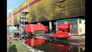 робототехнические комплексы обследуют место пожара в ТЦ