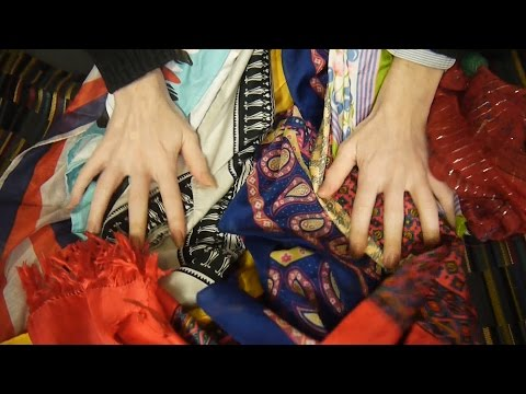 ASMR Sound Buffet of Scarves: fabric folding & rustling ear