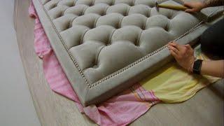 Изголовье с каретной стяжкой в мягкой раме / Headboard in a soft frame diamond tufted pattern.