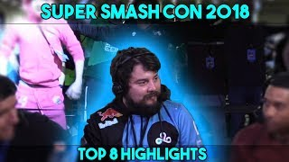 Super Smash Con 2018 Melee Top 8 Highlights || Amazing Grand Finals plus Mang0 commentary highlights