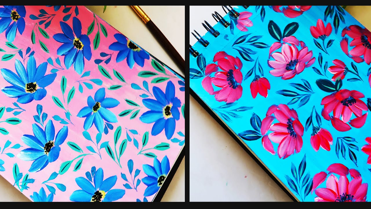 Painting Colorful Flower & Leaves Background using Acrylics / Flowers Pattern on Paper/CANVAS