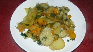 Как жарить картошку. Жареный картофель с морковкой и зеленью.
