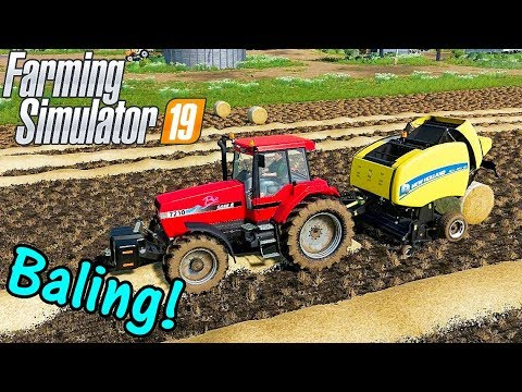 Let's Play Farming Simulator 19 #3: Baling The Straw!