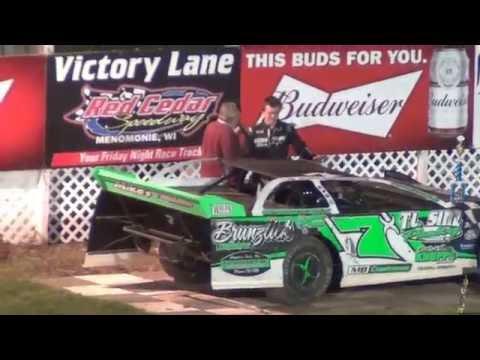5/20/16 Late Model Jesse Glenz Red Cedar Last Lap Pass Win
