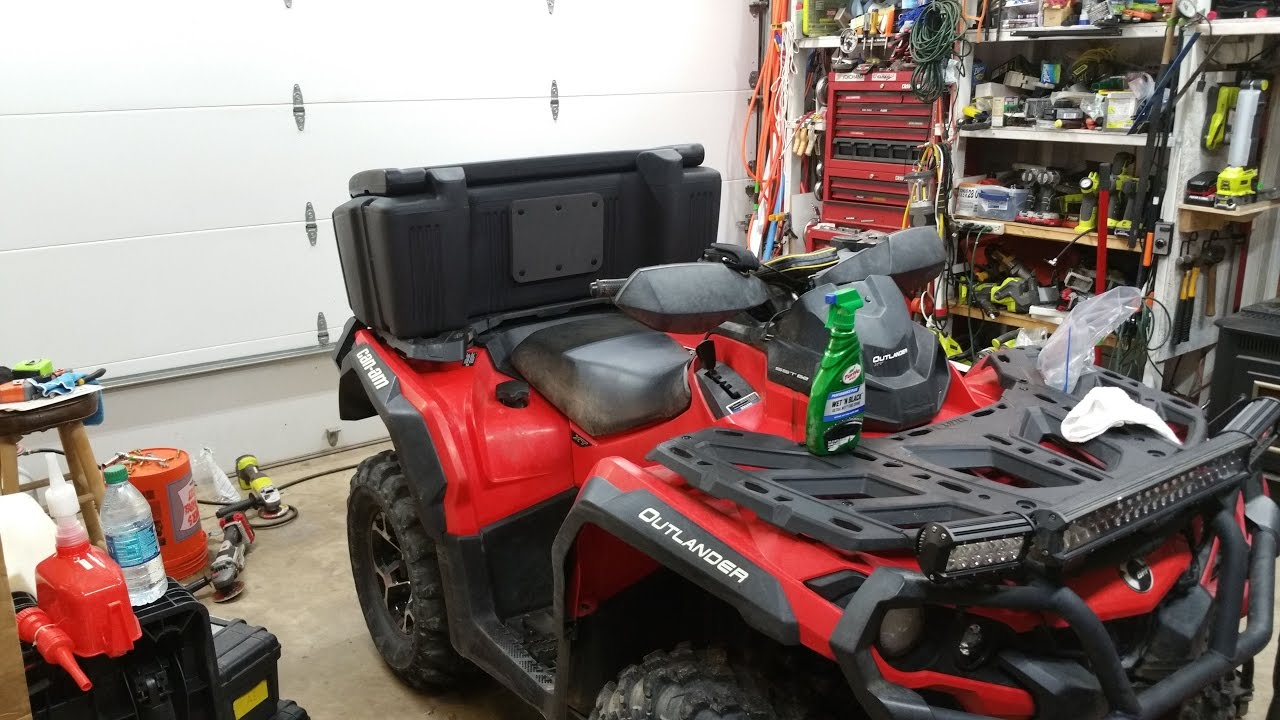 Atv Storage Box On Can Am Outlander 650xt Kolpin Outfitter Youtube