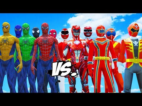 ALL RED RANGERS VS SPIDER-MAN, GREEN SPIDERMAN, BLUE SPIDERMAN, YELLOW SPIDERMAN, BLACK SPIDERMAN