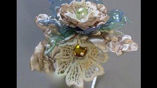 Linda Flor de garrafa Pet com tecido Passo a Passo com flor do jardim