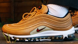 NIKE AIR MAX 97 METALLIC GOLD UNBOXING (ON FEET & REVIEW)