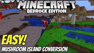 Minecraft Bedrock How To Transform Mushroom islands! Super Simple!