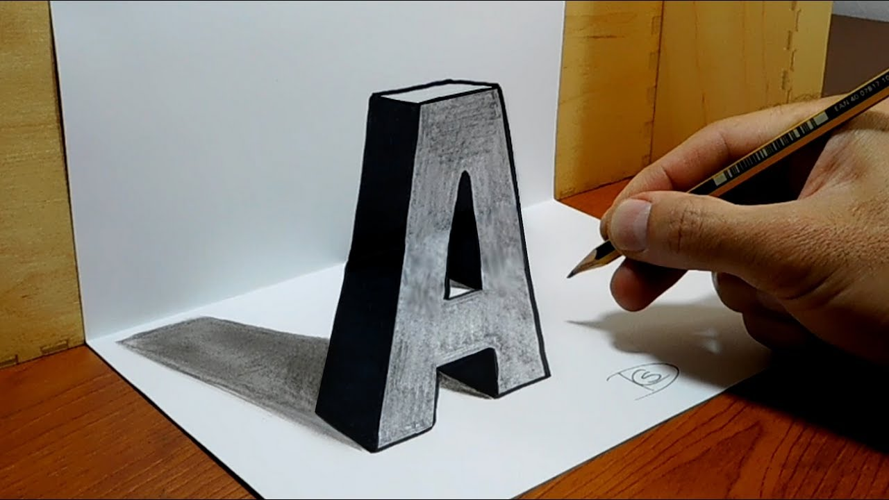 3d trick art on paper letter a with graphite pencil