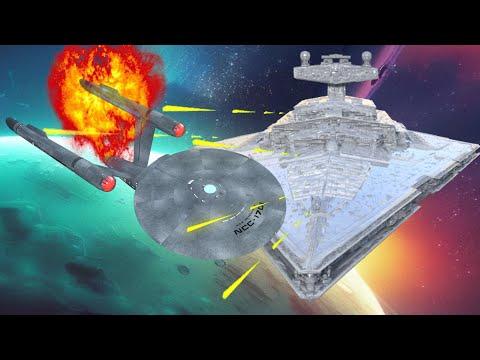 Enterprise vs Star Destroyer FULLY ANIMATED BATTLE Star Wars vs Star Trek