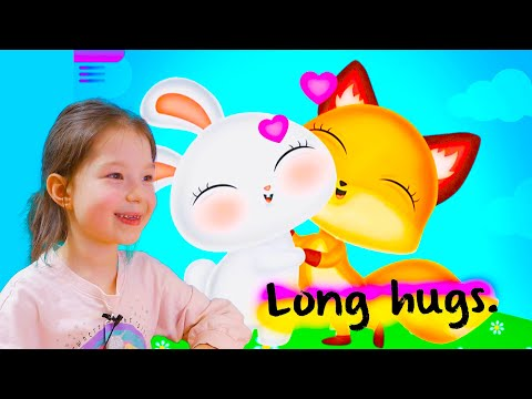 Cartoon GAME for kids Fox and hare hugs / fun children's game/ Video for kids/ Обнимашки /
