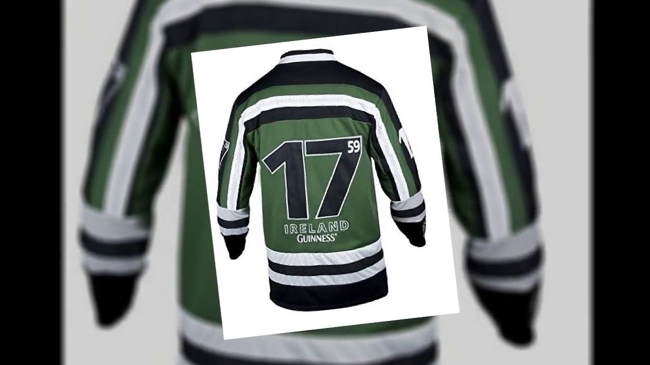 9baf8151 Guinness Green & White Harp Hockey Jersey - Embroidered Polyester Athletic  Shirt