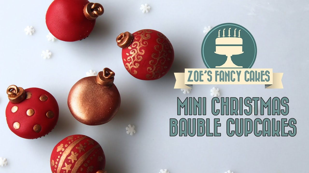 christmas mini cupcake bauble decorations how to cake tutorial - Christmas Cupcake Decorations