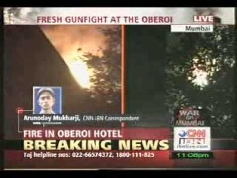 MUMBAI TERROR ATTACK Taj Mahal Hotel burning in flames Travel Video