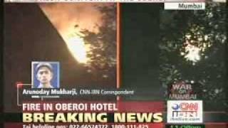 MUMBAI TERROR ATTACK Taj Mahal Hotel burning in flames