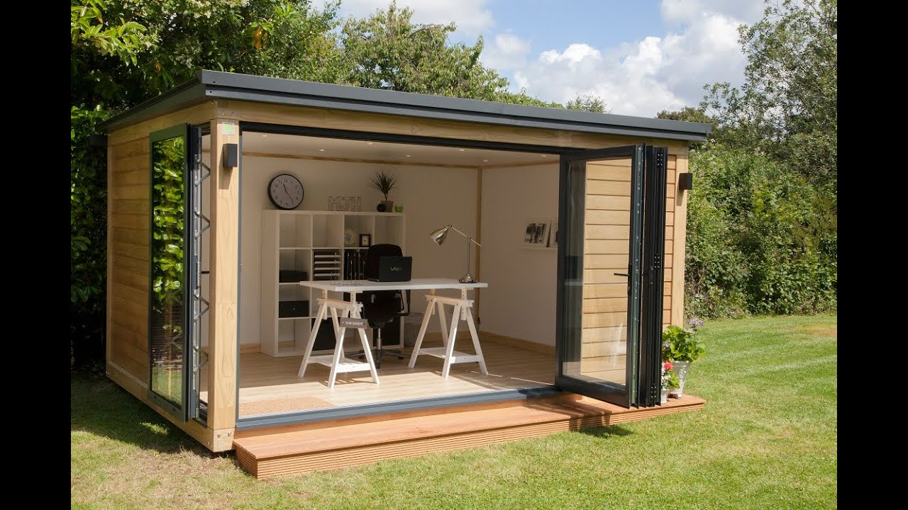 Garden office youtube for Outdoor office building