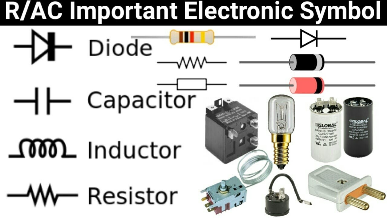 refrigeration air conditioner electric symbol capacitor lamp plug resistor diode and more symbol [ 1280 x 720 Pixel ]