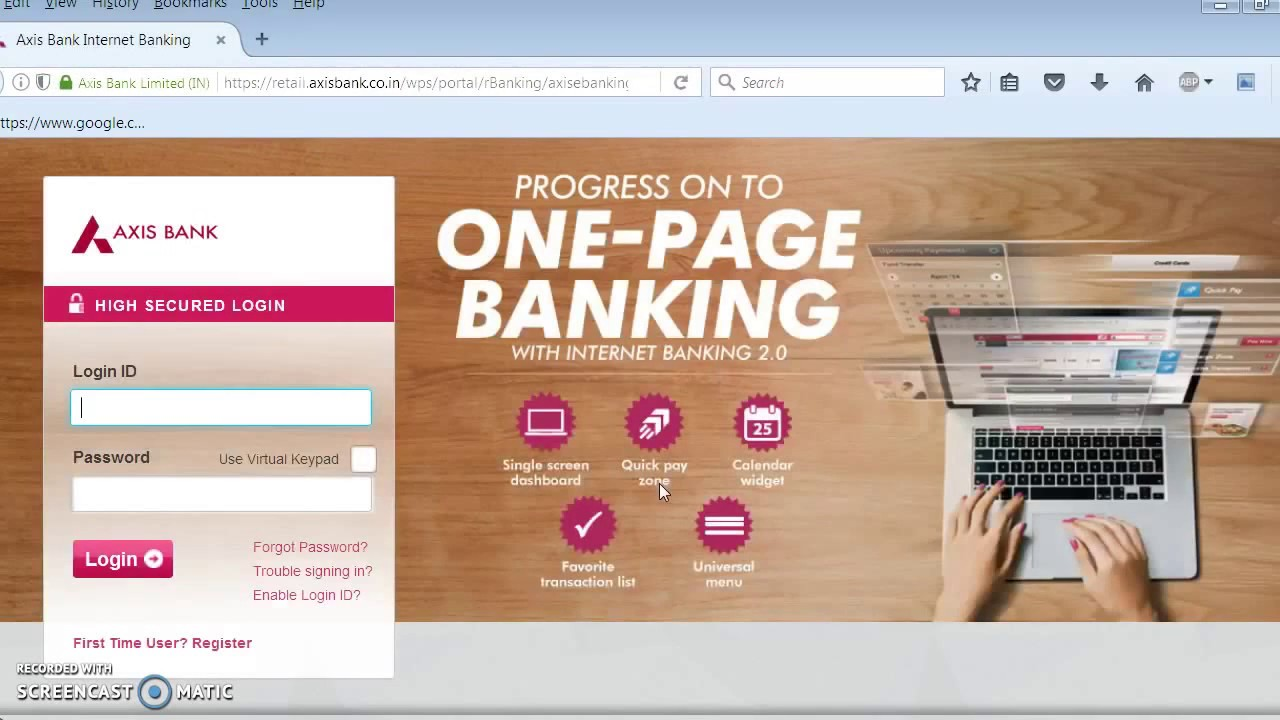 axis bank internet banking personalized login id youtube