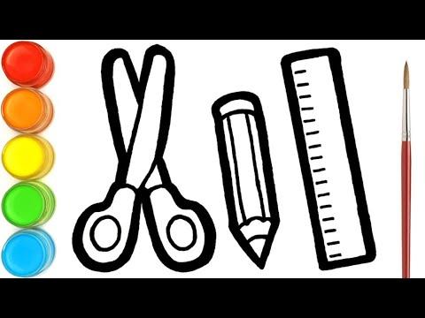 Menggambar Dan Mewarnai Peralatan Sekolah Gunting Pensil Penggaris Untuk Anak Anak Youtube
