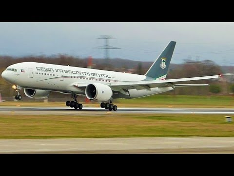 [FullHD] Ceiba Intercontinental Boeing 777-200LR landing & night takeoff at Geneva/GVA/LSGG