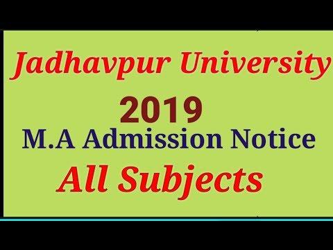 M. A Admission Notice Of Jadhavpur University