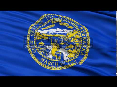 Waving Flag Of The US State of Nebraska