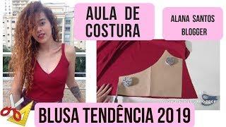 Costurando blusa transpassada tendência 2019 Alana Santos Blogger