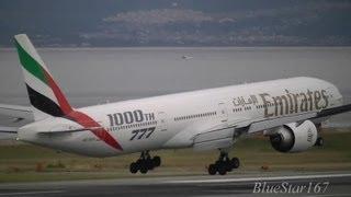 [1000th 777] emirates airlines boeing 777-300er (a6-ego) landing at kix/rjbb (osaka kansai) rwy 24l