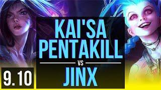 KAI'SA & Galio vs JINX & Thresh (ADC) | Pentakill, KDA 13/0/7, Legendary | Korea Challenger | v9.10