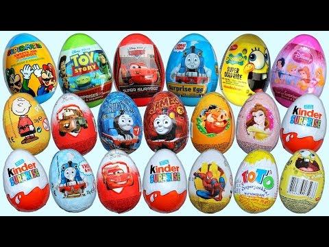 Surprise Eggs Frozen Minions Minnie Mouse Spiderman Cars Kinder Surprise Opening