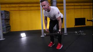 Fixed barbell single arm bent over row