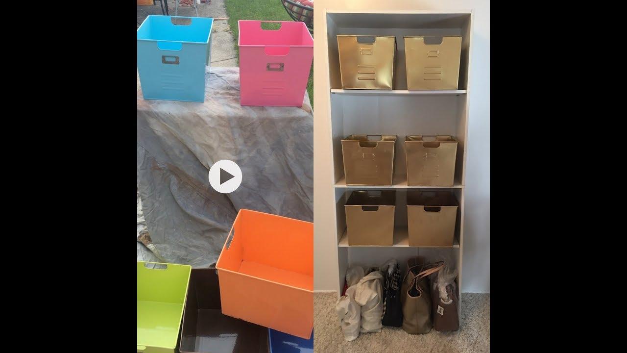 Diy Gold Spray Paint Metal Tins Shelf Idea Glam Makeover