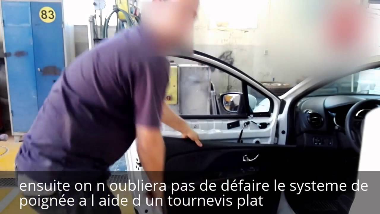 tuto d montage habillage porte av r tro renault clio 4 disassembly front door renault clio 4. Black Bedroom Furniture Sets. Home Design Ideas