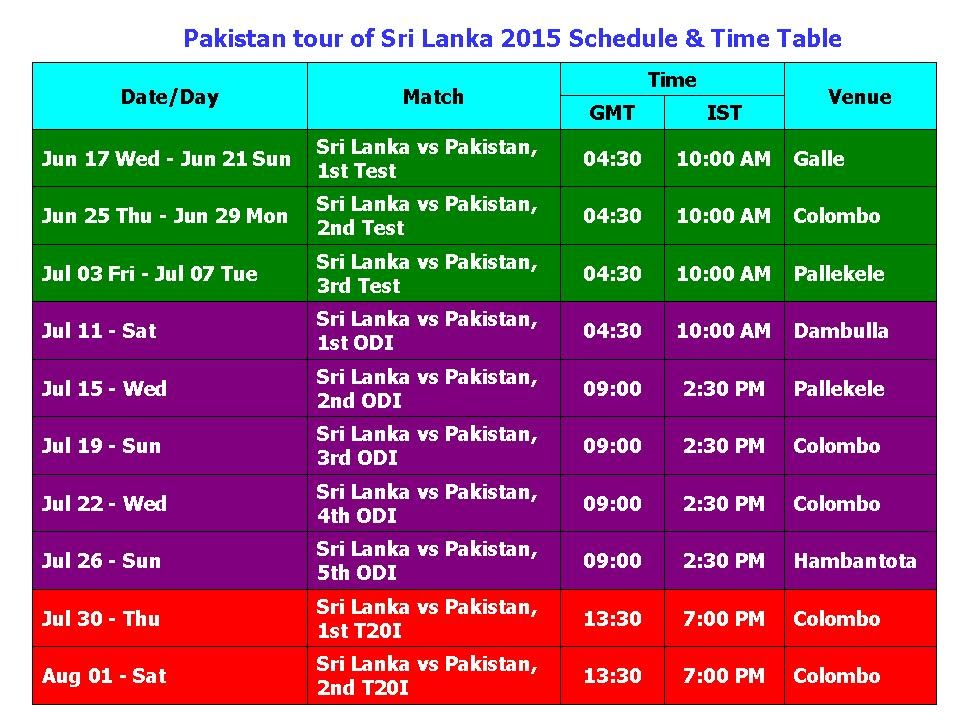 Sri Lanka Vs Pakistan  Tour