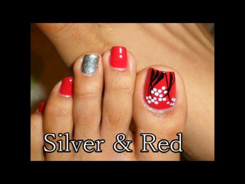 Decoración facil Rojo y Plata para las Uñas de los Pies /Easy Toe Nail Art silver  red , YouTube