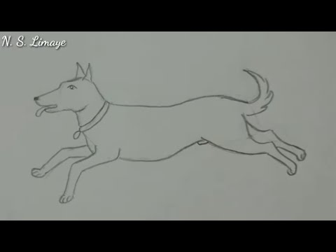 How To Draw A Running Dog  |  Step By Step In Easy Way  |  For Beginners By N S Limaye'sArt