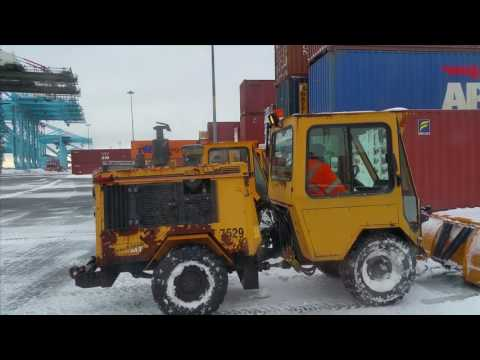Snow Plowing Removal on a container terminal in NJ