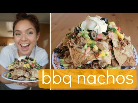 BBQ Pulled Jackfruit Nachos w/ Eggplant Cheese (Vegan)
