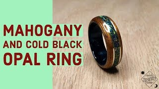 Mahogany Wood with Cold Black Bello Opal and Brass Bentwood Ring
