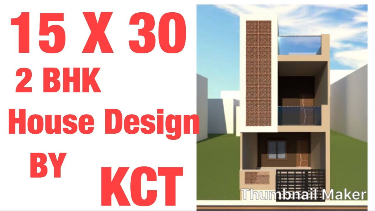 15 x 30 House Design , 2 BHK , Ghar Ka Naqsha , Plan Type - 2 House Plan 50  Gaj