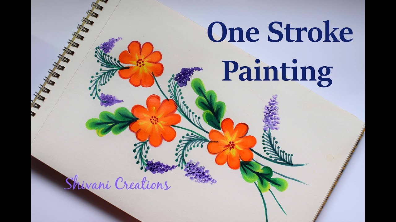 One Stroke Painting For Beginners Easy Flower Painting Youtube