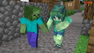 Monster School : A beautiful love story (Zombie Girl & Boy) - Minecraft Animation
