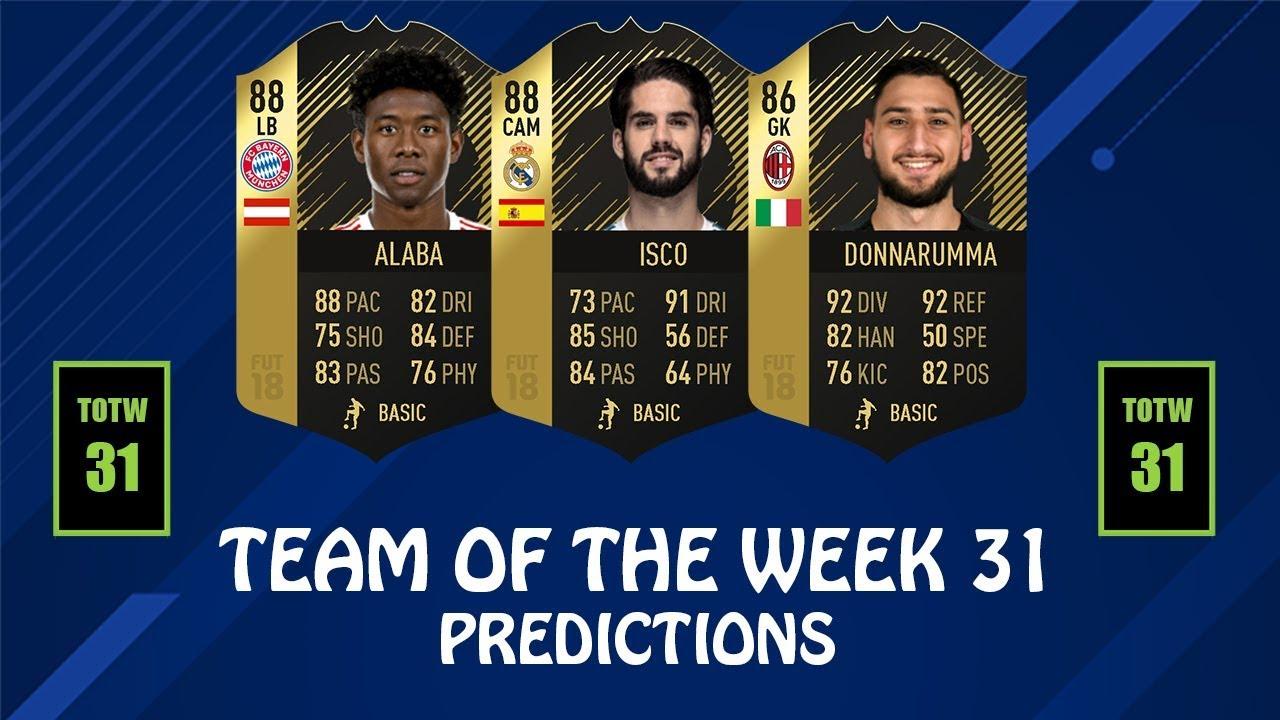 Totw 31 Predictions Fifa 18