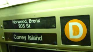 Norwood-205th Street Bound R68 (D) Train Via Local Ride (6th Avenue FasTrack)