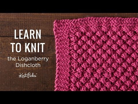 Learn To Knit Loganberry Dishcloth