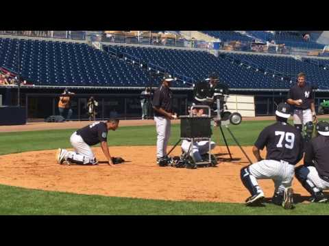 Yankees' Gary Sanchez tries for 3 foul pops at once in wild drill