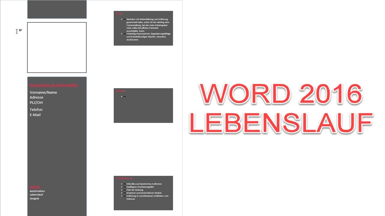 Word | Lebenslauf einer Bewerbung schreiben/designen | Teil 3/3 ...