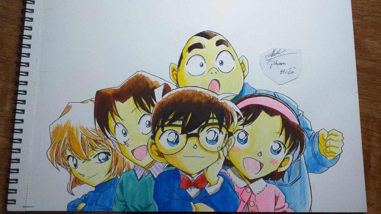 Drawing of the detective team Conan (Detective Conan)
